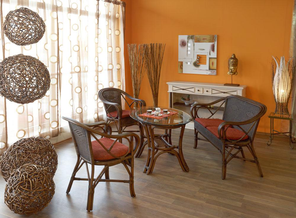 tisch rattan rattanesstisch rattantisch rund mit glasplatte gartenm bel natur ebay. Black Bedroom Furniture Sets. Home Design Ideas