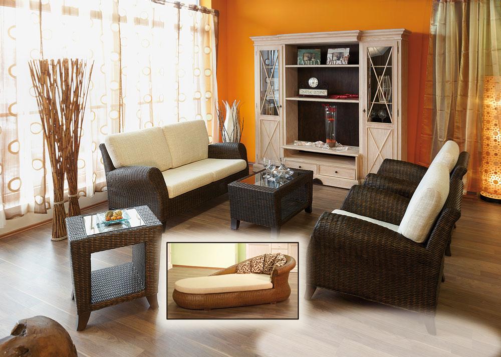 Rattan sofa manuel 3 sitzer mit armlehnen couch mit kissen - Casamia wohnen ...