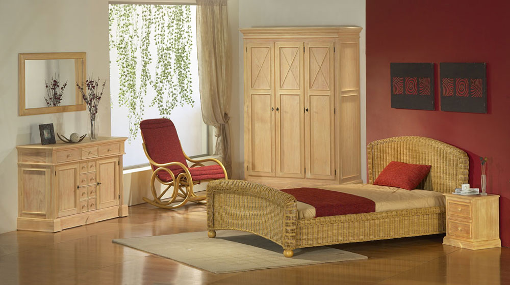 rattanbett 180x200 cm ehebett rattan doppelbett natur schlafzimmerbett bett ebay. Black Bedroom Furniture Sets. Home Design Ideas